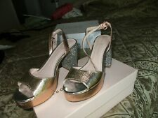 NORDSTROM BEAUTIFUL ROSE GOLD/GOLD/ SILVER PLATFORM SANDALS MUST C