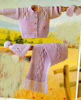 """Easy Knit Cable Cardigan- scarf-hat & mitts on one knitting pattern- DK- 16-22"""""""
