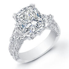 4.70 Ct Cushion Cut Trillion Pave Diamond Engagement Ring H,VVS1 EGL USA 18KWG