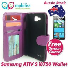 Purple Leather Litchi Skin Wallet Case Cover with for Samsung Ativ S i8750 + SP