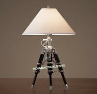 Royal Nautical Table Lamp Black Wooden Tripod Stand Home Decor