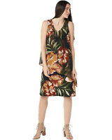 Susan Graver Womens Liquid Knit & Chiffon Overlay Dress L Black/Spice A352244