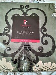 King Duvet Set 300 Thread Count Tribeca Living 💯 Egyptian Cotton Sateen