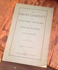 The GREAT CONFLICT Geo L Walton 1903 God's Word vs The Devil FREE US SHIPPING