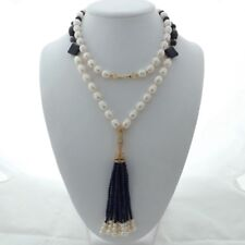 "M011803 37"" White Rice Pearl Lapis Tassel Necklace"