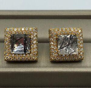 Designer 14k Multi-tone Gold Cufflinks Genuine Diamond & Black Rutilated Quartz