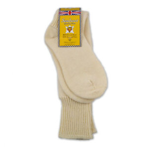 Sea Boot Socks - Extra Long 80% Wool - English Motorcycle Fisherman Hose (Cream)