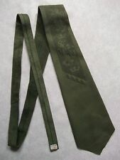 OLIVE GREEN SUEDE LEATHER TIE 1960s 1970s VINTAGE MOD RETRO MODERNIST LION CROWN