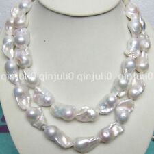 "15-20mm Real Natural South Classic Baroque White Akoya Pearl Necklace 36"" JN1079"
