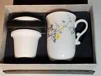 Teaopia White Floral Ceramic Tea Cup/ Mug With Tea Infuser & Lid Box Set