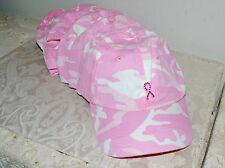 Lot of 6 Pink Cammo Baseball Caps Breast Cancer Awareness PINK Ribbon Pin