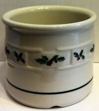 Longaberger Pottery Woven Traditions Holly Small Crock Utensil Holder