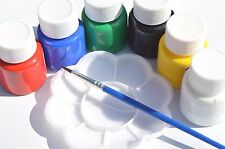 6 FABRIC PAINTS 25ml BOTTLES TEXTILE TSHIRT PAINTING PERMANENT + PALETTE & BRUSH