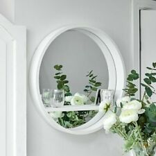 Wall Mounted Round Mirror With Shelving White Hanging Home Decor Shelf Bathroom