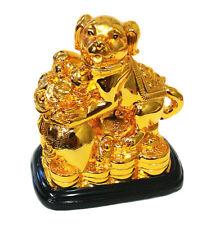 Feng Shui 2018 Good Fortune Zodiac Dog w Money Bag Statue Figurine Decoration