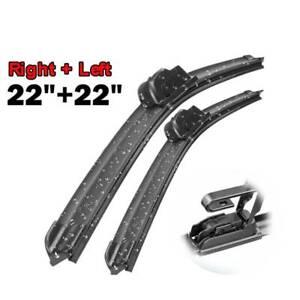 "XUKEY Car Front Windshield Frameless Wiper Blades For J hook Arm RH:22"" LH:22"""
