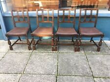 set of 4 solid oak kitchen - dining chairs with drop in seats #1599