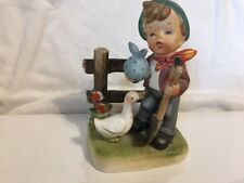 Vintage WALES JAPAN 1950's Boy with Shovel Holds a Sack Fence Duck Figurine