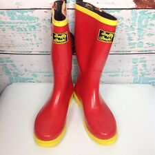 Buffy Boots Red Yellow Black Wellies Rain Tall Shoes Womens Sz 7 Rubber Galoshes