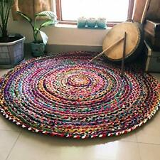 Multi Color Indien Braided Cotton Chindi Hand Woven Round Rug Carpet 3 x 3 ft