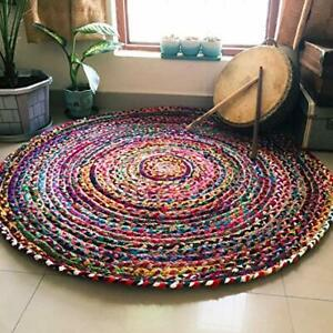 Multi Color Indian Braided Cotton Chindi Hand Woven Round Rug Carpet 3 x 3 ft