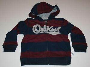 New OshKosh Boys 14 Gray Logo Red Black Stripe Full Zip Up Sweatshirt Hoodie Top