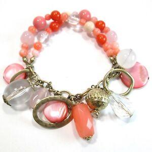"Premier Designs Pink Coral Multi Size Beaded Charm Dangle Bracelet 7"" Chain Link"