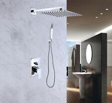 "12"" Shower Combo Set Wall Mounted Rainfall Top Shower Head Handheld Mixer Tap"