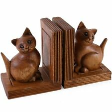 Solid Heavy Acacia Wood Hand Carved Cat Kitten Bookends (Pair) 16.5cm x 14cm