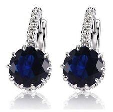 White Gold Plated Navy Stone  Drop Earrings Wedding Jewellery Gift UK Seller