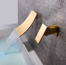 Wall Gold Brass Bathtub Water Spout Faucet Vanity Basin Mixer Single Handle Tap