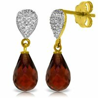 Natural Red Garnet Briolette Gems & Diamonds Drop Dangle Earrings 14K Solid Gold