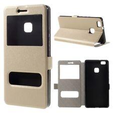Huawei p9 Lite wallet sac portable deux fenêtres vue pliante étui Cover Bag Gold