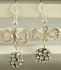 1pair butterfly 925 earrings silver pendant earrings Shambhala charm bead 4d