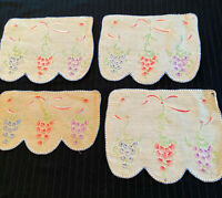 4 Vintage Linen Table Linens or Wall Art, Hand Embroidered, Scalloped Edge