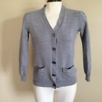 Kirkland Extra Fine Merino Wool Gray Longsleeved Cardigan Sweater Size Small