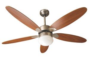 Ventilatore da Soffitto a 5 Pale in Legno con Telecomando e Lampada Luce 132 cm