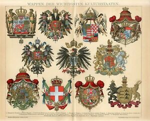 1895 HERALDRY GERMANY AUSTRIA HUNGARY RUSSIA G.BRITAIN FRANCE ARMS Antique Print