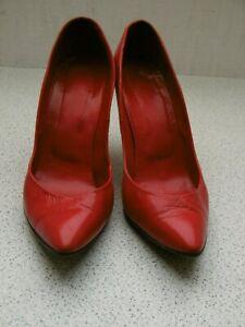 Rote Echtleder High Heels Gr. ca. 45, Absatz 10 cm (mit kleinen Mängeln)