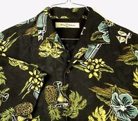 Tommy Bahama Black Aloha Hawaiian Camp Shirt Floral Martini Drinks Sz L EUC