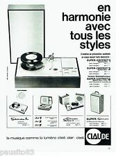PUBLICITE ADVERTISING 126  1964  Claude   étéctrophone super coffret  stéréo