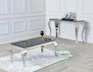 Louis Console Hall Table 100cm Black Marble Grey White Desk Chrome Legs UK