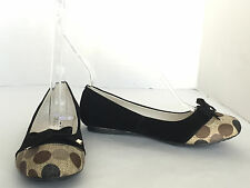 Women's Calzados Black & Beige Polka Dots Bow Ballerina Shoes SZ EU 35 US 5 M