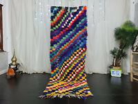 "Moroccan Vintage Handmade Runner Rug 2'8""x8' Checkered Colorful Berber Wool Rug"