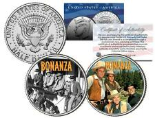 BONANZA * TV SHOW * Colorized JFK Half Dollar 2-Coin Set Ben Cartwright Hoss Joe