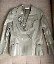 $3545 NEW Chanel Leather Jacket Blazer Sage Green Camellia Flower 46 US 14