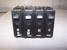 4) Ge General Electric 15 Amp Circuit Breaker 240 Vac 1 Pole Thql115 Lot Of 4