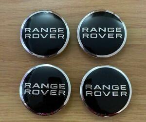 4X Range Rover Black Chrome 63mm Wheel Centre Caps Sport Evoque Freelander