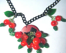 Bakelite Chip w Scottie Cherry Art Necklace Plastic Chain Moonglow Lucite Beads