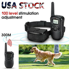 100LV 300M LCD Remote Electric Shock Vibrate Pet Dog Training Collar Waterproof